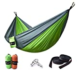 HUKOER Hammock,Double Camping Hammock Portable Nylon Garden Hammock with Straps/Stakes Max 550 lbs Capacity for Backpacking, Camping, Travel, Beach, Yard