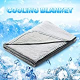 Cooling Blanket Japanese Q-Max 0.4 Technology keep cool in hot summer, 51 X 67in twin or baby sized blanket for Adults, Children, Babies. Mica Nylon and PE Cool Fabric Breathable Comfortable.(Grey)