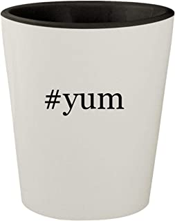 #yum - White Outer & Black Inner Hashtag Ceramic 1.5oz Shot Glass
