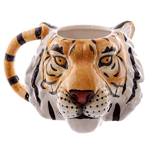 HMKZXQ 3D Tiger Gesicht Mug Wildlife Adventure Tiger Kopf Keramik Kaffee Tasse