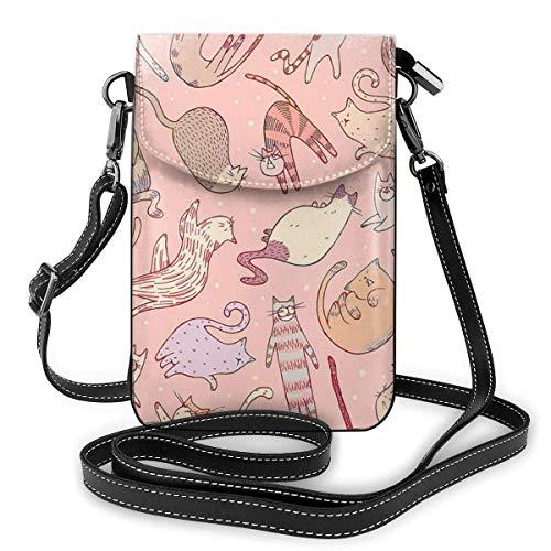 Clsr Handy Geldbörsen Kleine Crossbody Nette Katzen Rosa Brieftasche Taschen Mit Verstellbaren Schultergurt Frauen