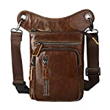 Leathario Men's Genuine Leather Leg Pouch Drop Leg Bag Motorcycle Waist Pack Outdoors Carrying Pouch