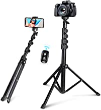 """62"""" Selfie Stick Tripod, Integrated, Torjim Portable Phone Tripod with Phone Holder, Bluetooth Remote for iOS & Android, Tripod Stand Perfect for Camera & GoPro with 360°Tripod Head and GoPro Adapter"""