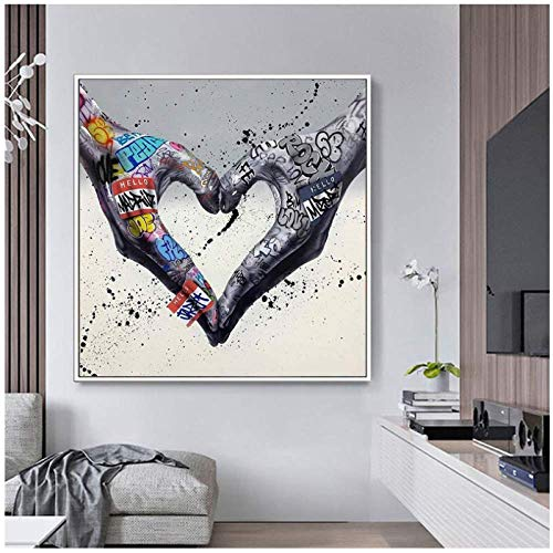 ASFDF Gesture Heart Graffiti Art Canvas Painting Love Hands Wall Art Posters and Prints Decorative Picture for Living Room Home Decor Print 50x70cm No Frame