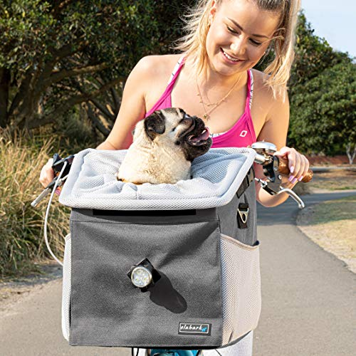 elabark Pet Carrier Backpack and Dog Bike Basket with Adjustable Shoulder Strap, Grey - 4-in-1 Versatile Dog Carrier Backpacks and Car Seat for Small Dogs - Premium Pet Gear and Pet Travel Supplies