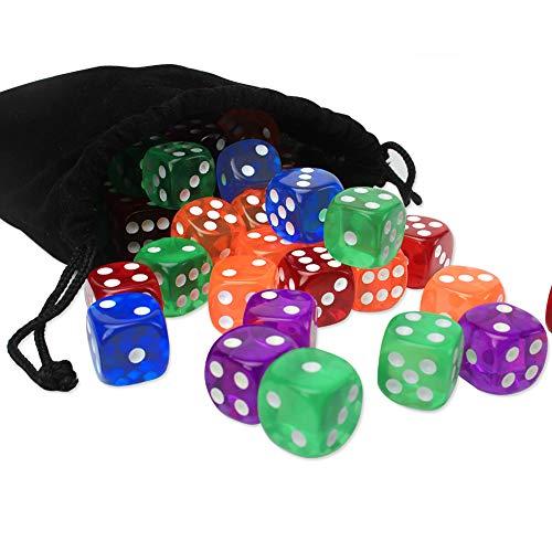 Jespeker Würfel Set Klar Farbig Transparent Dice 6-seitig mit Eine Schwarze Kordelzugtasche, Punkte Würfel 50 Stck 5 Farben