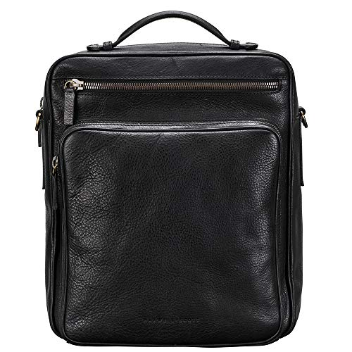 Maxwell Scott Men's Real Leather Backpack with Strap - SantinoL Black