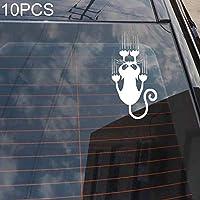 車のステッカー 10 PCS YOJA防水猫柄車のステッカーおかしい動物ビニールデカールカーウィンドウバンパーステッカー、サイズ:7.5x15cm(ブラック). (Color : Silver)