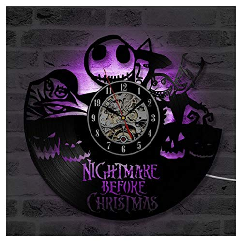 ZhangXF Nightmare Before Christmas Hollow Vinyl Record Wall Clock, LED Luminous 12 Inch Retro Vinyl Record Clock Best Gift for Living Room Decoration Seven Colors,C