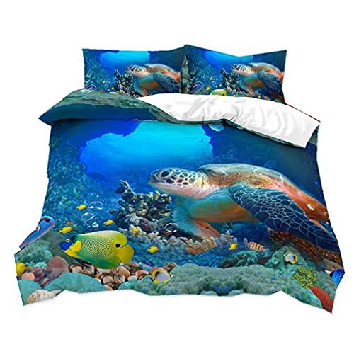 3D Oceano Animal Delfín Tortuga Tiburón Paisaje Patrón Impresión Colorida Funda Nórdica Y Funda de Almohada 50x75 , Juego de Cama Niña Chico Funda Nórdica (Flor 4, 150x200 cm - Cama 90 cm)
