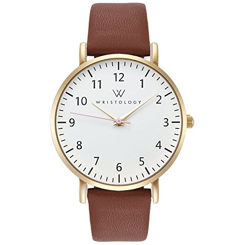 Price comparison product image WRISTOLOGY Olivia - 5 Options - Womens Watch Numbers Gold Boyfriend Ladies Brown Leather Strap Band
