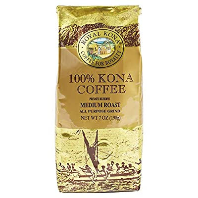 Royal Kona 100% Hawaiian Kona Coffee, Ground, Private Reserve Medium Roast - 7 Ounce Bag