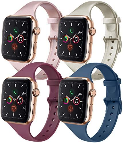 IEOVIEE [Pack 4] Silicone Slim Bands Compatible with Apple Watch Bands 42mm 38mm 44mm 40mm Series 6 5 4 3 & SE, Narrow Replacement Wristbands (Rose Gold/Champagne/Wine Red/Navy Blue, 42mm/44mm S/M)