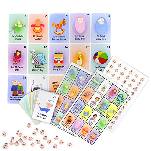 JIMMY'S TOYS Baby Shower Loteria Bingo Game - 10 Players & 48 Cards - Gender Neutral for Boys & Girls Babyshower Party - English and Spanish