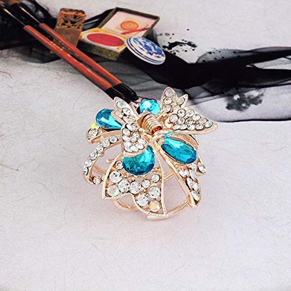 不毛の飲料月曜日HuaQingPiJu-JP 1Pc DIY魔法の髪の女性の女の子ヘアピン蝶のヘアクリップパーティーヘアスタイルツールアクセサリー(青)