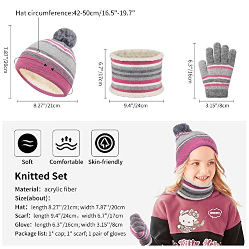 VBIGER Kids Winter Hat Snood Thermal Gloves for Boys Girls Beanie Hat Scarf and Gloves Set with Warm Fleece, Aged 3-6