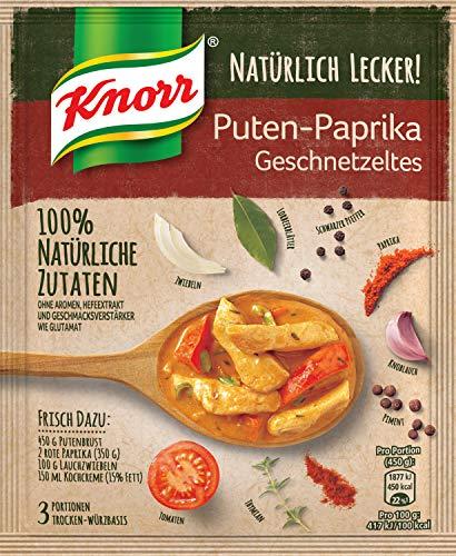Knorr Natürlich Lecker Puten Paprika Geschnetzeltes, 3 Portionen, 12er Pack