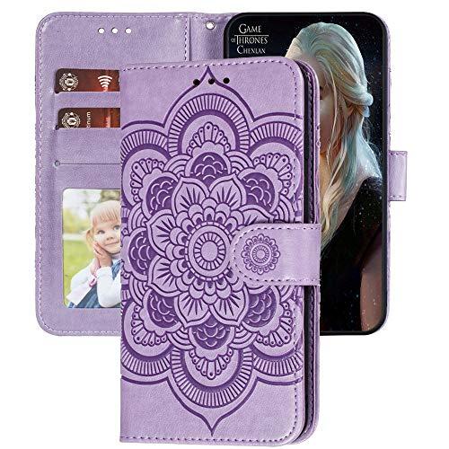 Capa carteira XYX Galaxy S20 FE, capa S20 FE, [flor de mandala em relevo] capa de couro PU para Samsung S20 FE (roxo)
