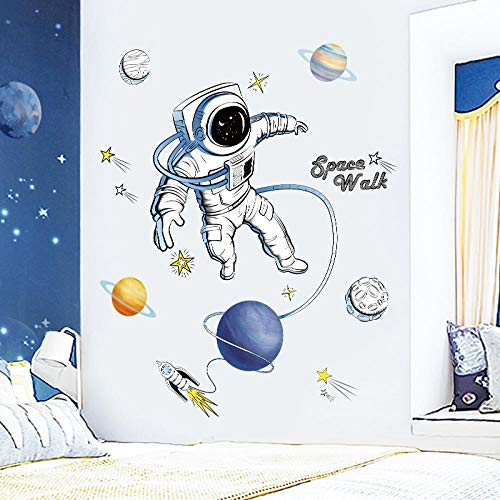 LSDAEER Wandtattoo Selbstklebend Modern Diy Kreative Astronauten Planeten Wandaufkleber Kindergarten Kinderzimmer Wand Hintergrund Dekorative Aufkleber Abziehbar Selbstklebend