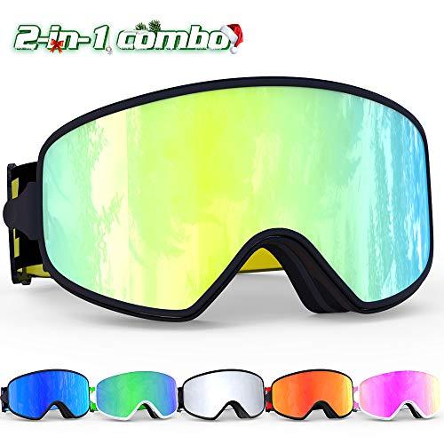 COPOZZ Ski Goggles, MX 2 in 1 Dual-use Magnetic Lens for Day Night Skiing, Anti-Fog UV400 Snow Snowboard Goggles for Men Women Youth (MX Gold Ski Goggles (VLT 16%))