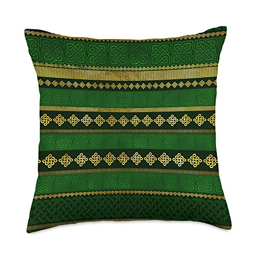 Creativemotions Celtic Knot Decorative Gold and Green pattern Throw Pillow, 18x18, Multicolor