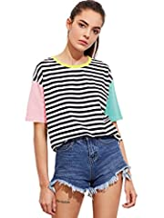 "Fabric is very stretchy, 95% Cotton, 5% Spandex. VERY Loose Striped, Color Block, Round Neck, Casual,/Sports Style Model Measurements: height: 172cm/5'8"", bust: 82cm/32"", waist: 58cm/23"", hip: 86cm/34"", wear: S Wash Recommended With Cold Water / Do N..."