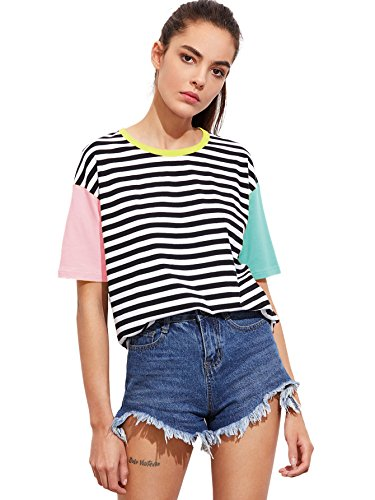 Romwe Women's Contrast Neck and Sleeve Striped Tee Multicolored L