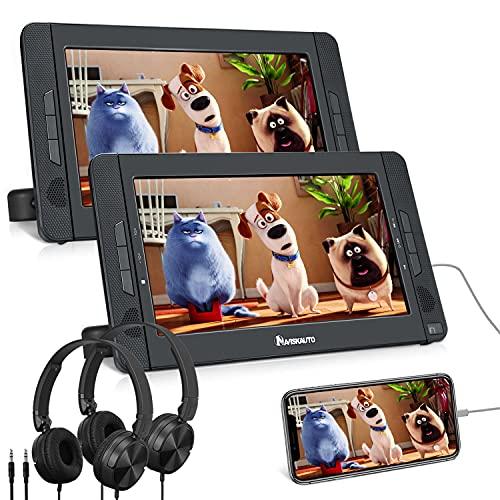 """NAVISKAUTO 10,1\"""" DVD Player Auto 2 Monitore HDMI Eingang Tragbarer DVD Player 5 Stdn. Spielzeit 1024 * 600 HD mit 2 Kopfhörer Kopfstützenhalterung"""