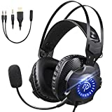 Gaming Headset with Microphone, REDSTORM Gaming Headphones PS4 Headset PC Headphones with RGB Light Noise Canceling Ear Headphones for PS4/iPad/Xbox One/Xbox One S/X