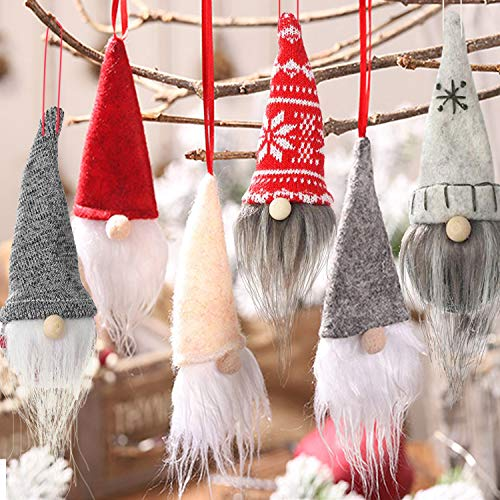6 Pack Gnome Christmas Plush Ornaments Set - Xmas Hanging Decorations Gnome Hat Tomtees Plush Scandinavian Santa Beard Ornaments for Christmas Tree Fireplace Home Decor