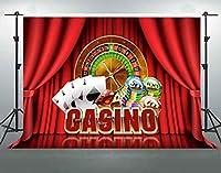 F-FUN SOUL 7x5フィート カジノ 背景幕 コットン 防しわ ポーカー サイコロルーレット レッド ステージ 写真 背景 テーマ パーティー バナー 写真 スタジオ 小道具 LHFS328