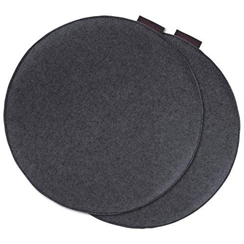 AVARO Stuhlkissen Filzimitat 2´er-Set rund Ø ca. 35cm (anthrazit)