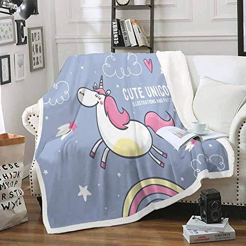 HAHAHAG Manta Franela cálida para sofá Cama Unicornio de Dibujos Animados 70X100CM cálida para Adultos Supersuave con Franela Suave Antibolitas para Adultos y niños impresión 3D