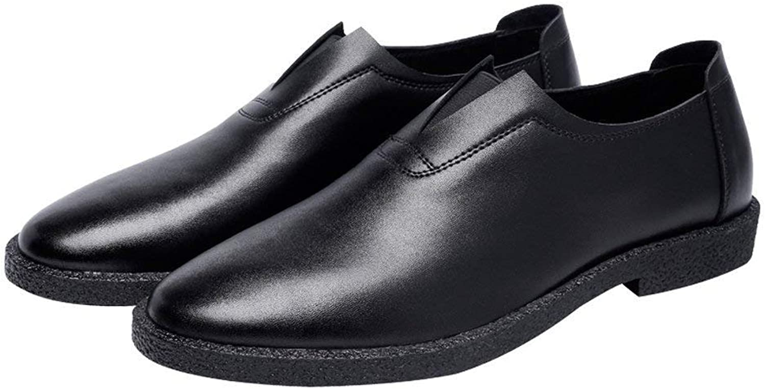 FuweiEncore 2018 Men's Casual shoes Matte Genuine Leather Loafers Slip-on Breathable Pointed Toe Oxfords (color  Black, Size  41 EU) (color   Black, Size   44 EU)