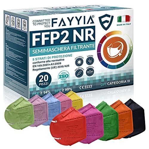 20St. ffp2 masken, 5-lagig schutz ffp2 maske bunt, ffp2 maske ce zertifiziert CE 2233, ffp2 maske bunt erwachsene EN 149:2001+A1:2009, masken BFE ≥ 99%, ffp2 Halbmaske filtern, masks