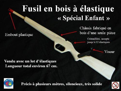 Jouets de France Fusil en Bois Lance élastique 12 Coups spécial Enfant
