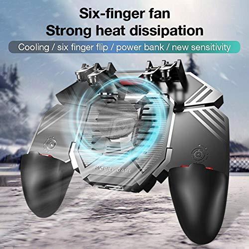 AK77 MEMO Controlador de juegos móvil pubg, Radiador Ventilador refrigerado por agua Six Fingers PUGB Handle Power Bank para Android iOS,Reglas de supervivencia,Knives Out,Survivor Royale,Critical Ops