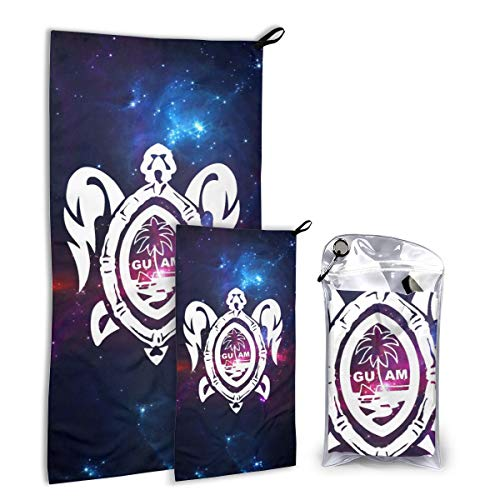 Outdoor Microfiber Towel Set 2 Pack,Guam Seal In A Tribal Turtle Soft Compact Ultra Absorbent Fast Drying Travel Towels With Hand/Face Towel For Sports, Backpacking, Beach, Gym,Yoga,Swimming Or Bath