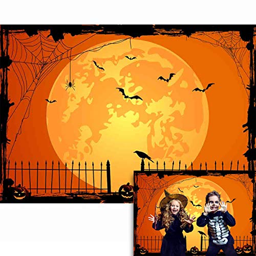 Allenjoy 7x5ft Happy Halloween Backdrop Jack O'Lantern Pumpkin Lantern Orange Night Moon Bat Spider Web Graveyard Fence Photography Background Party Decorations Cake Table Banner Photo Studio Booth