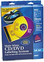 Avery 8965 CD/DVD Design Labeling Kits, Matte White, 40 Inkjet Labels and 10 Inserts
