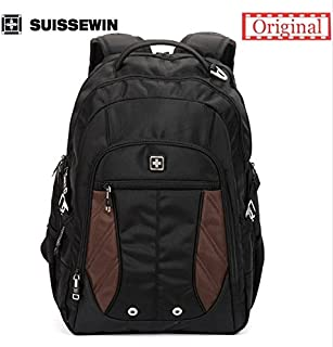 "SUISSEWIN Swiss Backpack Travel Backpack School Backpack Daily Backpack SN8110 15"" Laptop Backpack(Black)"