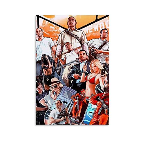 FANSH Póster de juego Grand Theft Auto V, GTA 5 carteles de lona para sala de pintura estética arte de pared decorativo de 60 x 90 cm
