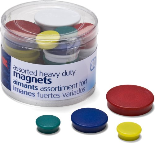 Officemate Assorted HeavyDuty Magnets Circles Assorted Sizes amp Colors 30/Tub 92501