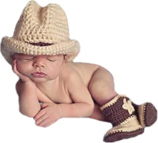 Newborn Baby Photography Prop Crochet Knitted Fringe Cowboy Style Boots& Hat