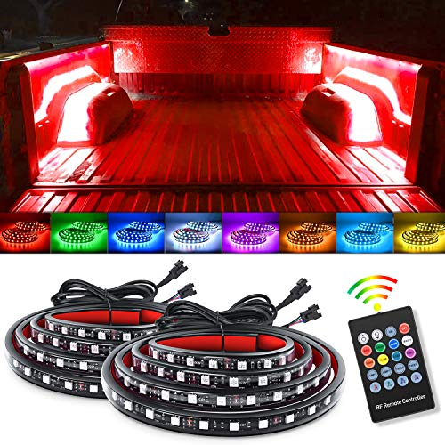 Nilight 2PCS 60Inch RGB Truck Bed Light Strip Kit 180 LED RF Remote Control with On Off Switch Blade Fuse 2Way Splitter Extension Cable for Cargo Pickup Truck SUV RV Boat, 2 Years Warranty (TL-31)