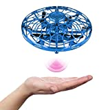 Hand Induction Mini Drone, 360 Degree Rotation Flying Ball with LED Lights, Infrared Induction Quadcopter, UFO Helicopter for Kids Gifts (Blue)