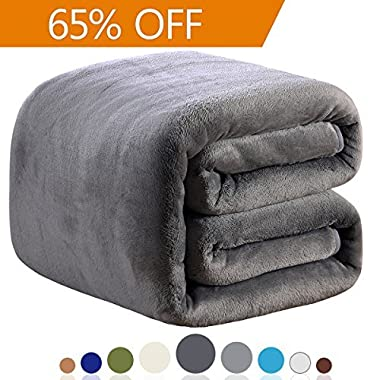 Richave Fleece Blanket King Size 350GSM Lightweight Throw for The Bed Warm Sofa Blanket 90  x 108 (Dark Grey King)