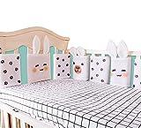 6Pcs Cuna de malla transpirable para bebé Almohadilla para parachoques Cubierta de protector de riel Forros de cuna verticales Niños Niñas, Protector de riel de seguridad de cama Protector dentición