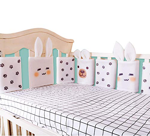 6 Piece Set Baby Breathable Mesh Crib Bumper Pad Rail Guard Cover Vertical Crib Liners Boys Girls, Bed Safety Rail Protector Teething Guard Cartoon, Anti-Collision Cushion Fence Pillow-A1