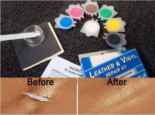 JAAGS No Heat Leather Repair Kits for Couches - Vinyl & Upholstery Repair Kit for Car and Boat Seats, Sofa & Furniture - Repairs Couch Tears & Burn Hole